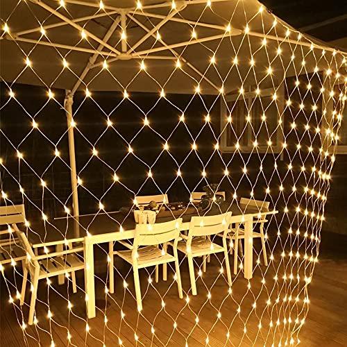 320pcs LED Tenda Luminosa Natale Esterno Interno 3x2, 8 tipi di reticolo luce bianca calda dimmerabile, luci impermeabili per interni ed esterni con Telecomando e Timeradatte per giardino, Natale.