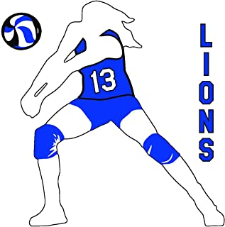 Volleyball Girl Set Vinyl Window Decal Sticker Choose Number Choose Your Text (Blue)