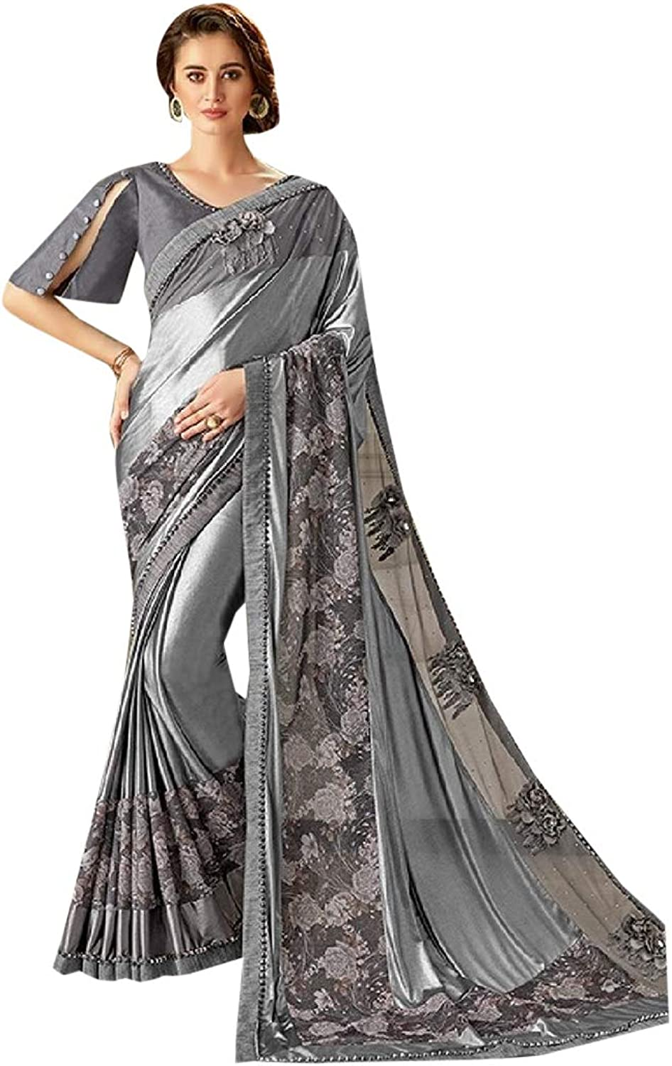 Designer Bollywood style Saree with Stylish Blouse for Women Indian Trendy Cocktail Party wear 7627