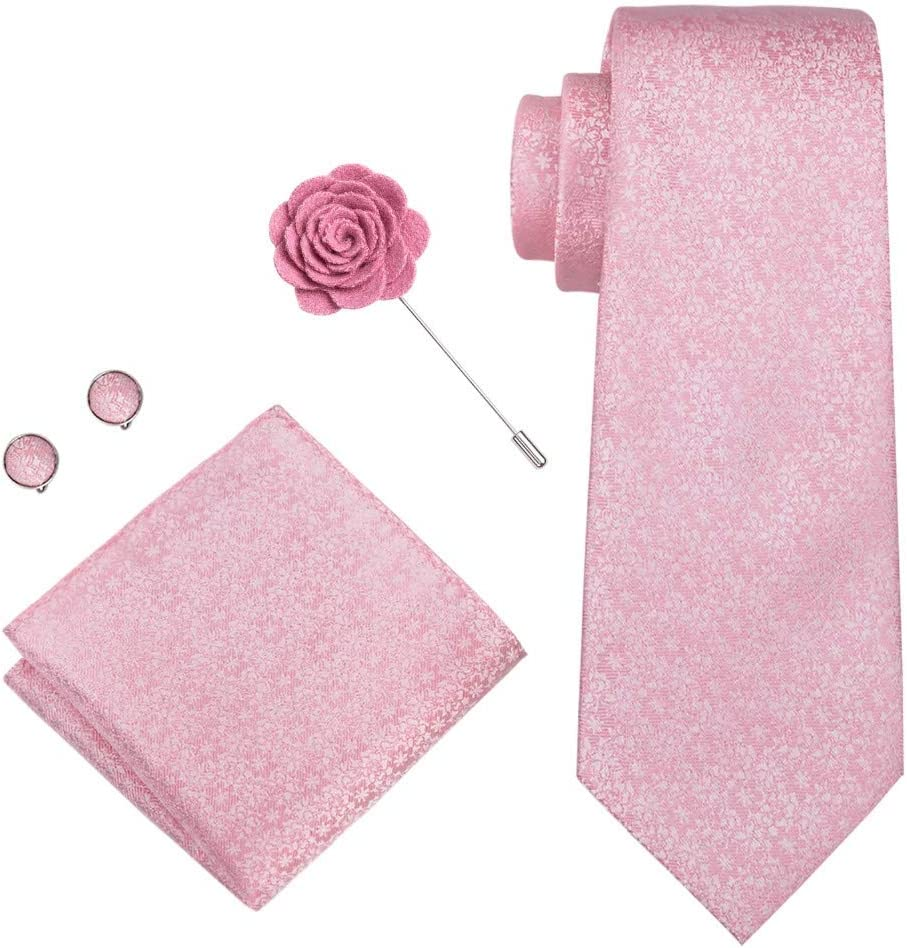 JIEIIFAFH Solid Pink Color Necktie Set Compatible with Men 100% Silk Jacquard Woven 8.5CM Width Men's Tie Compatible with Man Male Wedding Party Ties