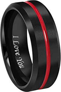 8mm Thin Red Groove Black Brushed Tungsten Carbide Wedding Band Ring Comfort Fit Engraved