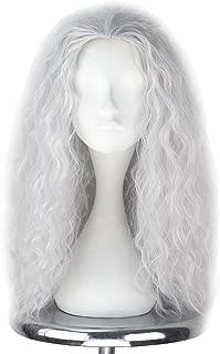 Miss U Hair Unisex Long Curly Hair Party Movie Cosplay Costume Wig Halloween (Silver grey)