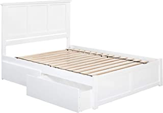 Atlantic Furniture Madison Platform Bed with 2 Urban Bed Drawers, Queen, White