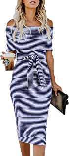 Womens Off The Shoulder Bodycon Dress Striped Fold Cocktail Dresses with Belt