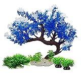 Smoothedo-Pets Plantas de acuario, decoración de pecera, tamaño medio/11 pulgadas de plástico artificial planta de peces de color azul