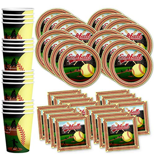 Softball Star Birthday Party Supplies Set Plates Napkins Cups Tableware Kit for 16