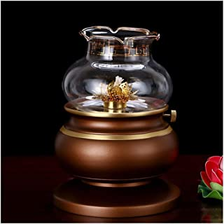 LLNN Lotus Lamp Holder with Glass Buddha Lamp Butter Lamp Essential Oil Burner in Living Room and Bedroom (Size : Large)