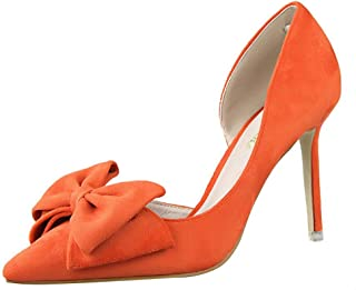 Sam Carle Women Pumps, Solid Color Suede Bow-Tie High Heel Pointed Toe Nightclub Shoes