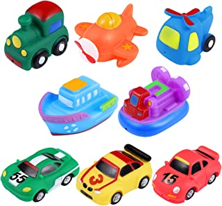 Tomaibaby 8PCS Bath Squirties, Soft Vehicles Squeeze and Squirt Bathtub Squirters for Kids