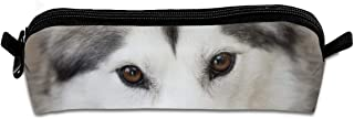 Husky Dog Close Up Pen Pencil Stationery Bag Makeup Case Travel Cosmetic Brush Accessories Toiletries Pouch Bags Zipper Resistance Carry Handle Power Lines Hanging Handbag Documents