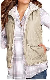 Macondoo Women Zipper Up Coats Autumn Winter Lightweight Plush Reversible Sleeveless Warm Vest