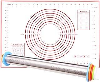 1pc silicone cuisson Mat pâtisserie Mat avec mesure pétrir la pâte Kit nonslip non-Stick Pétrissage Pad en acier inoxydabl...
