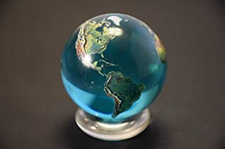 "Beautiful 2"" Crystal Glass Earth Globe Marble Sphere Orrery"