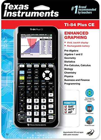 Texas Instruments TI-84 Plus CE Color Graphing Calculator, Black 7.5 Inch