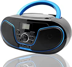 LONPOO Portable CD Player Boombox with FM Radio,USB Playback,Bluetooth-in,AUX Input and 3.5mm Earphone Output, Stereo Sound Speaker & Audio
