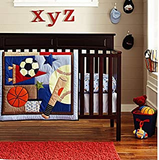 6-Piece Crib Nursery Bedding Sports Sets 100% Cotton Star Baby Boys Patchwork Quilt Crib Bedding in a Bag Dark Blue
