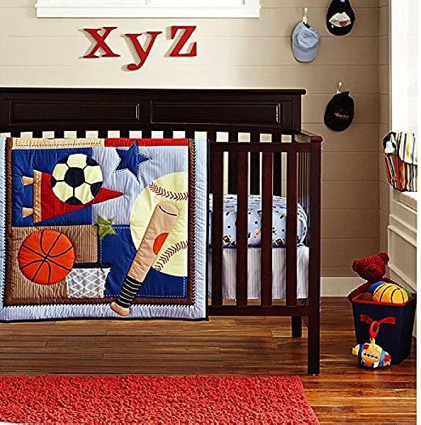 6 Piece Crib Nursery Bedding Sports Sets 100 Cotton Star Baby Boys Patchwork Quilt Crib Bedding In A Bag Dark Blue