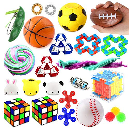 24 Pack Sensory Toys Set, Fidget Toys Pack Stress Relief Hand Toys for Adults Kids ADHD ADD Anxiety Autism - Perfect for Birthday Pinata Fillers, Classroom Treasure Box Prizes and Carnival Games