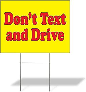 Plastic Weatherproof Yard Sign Awareness Don't Text and Drive Red for Sale Sign One Side 18inx12in