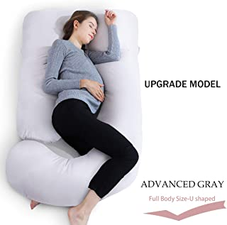 INSEN Full Body Pregnancy Pillow with Cotton Cover, U Shaped Maternity Pillow for Pregnant Women
