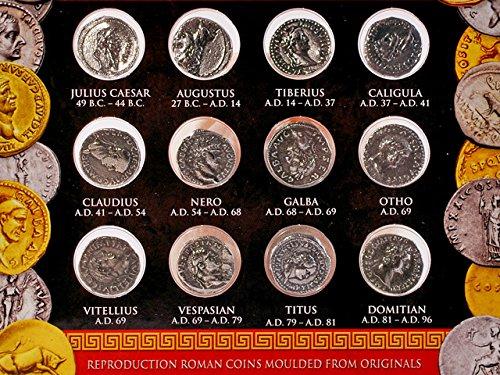 Münzen römischer Kaiser - Münz Repliken von zwölf Cäsaren Silber Denare - Forum Traiani - Replikation Silberdenare - Replik römische Zahlungsmittel des British Museum - Antike Sammlermünzen