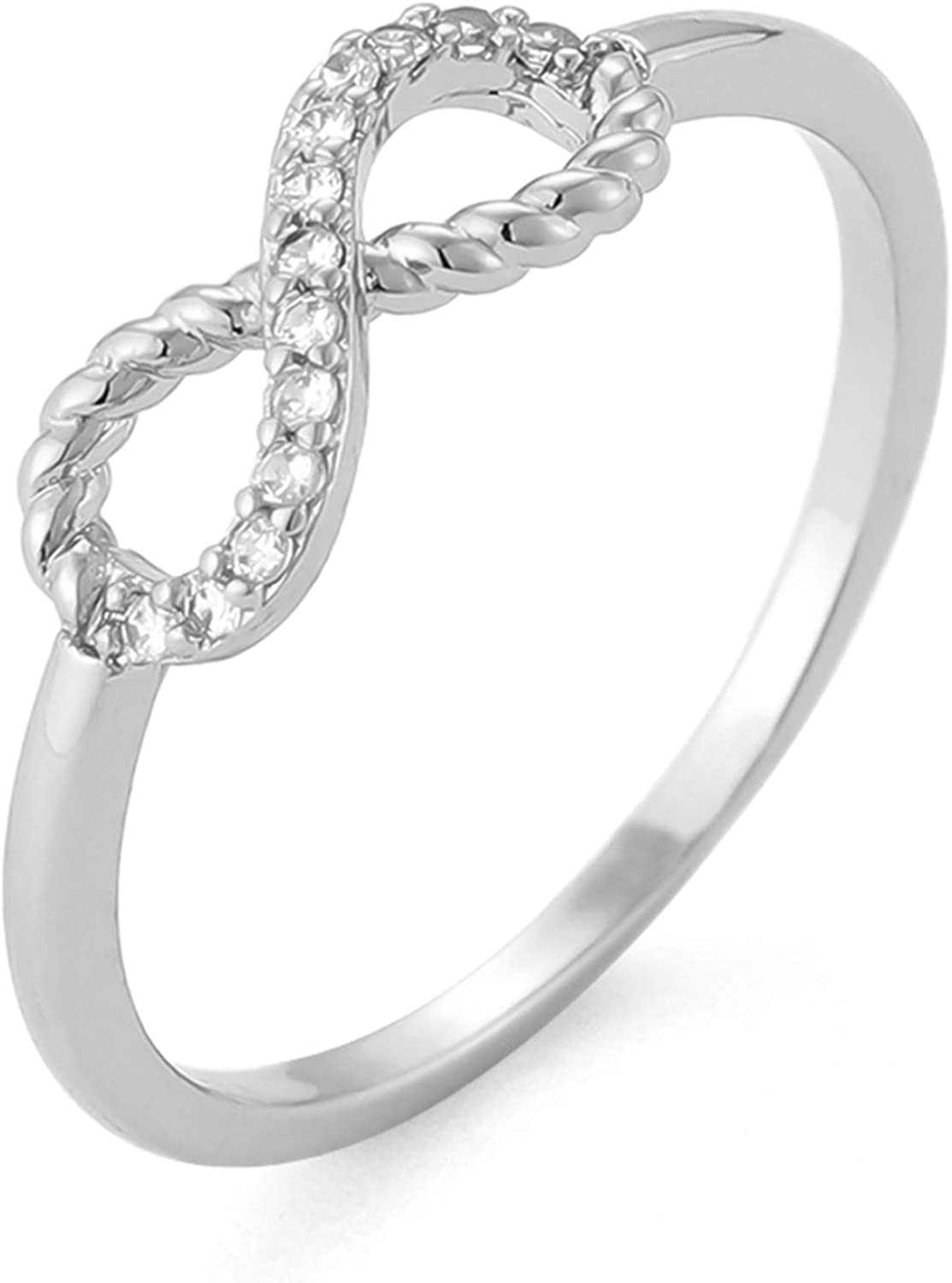 YMBYCM Pure Love and Eternity Rings 18K / White Gold Plated Ring Cubic Zirconia Engagement Wedding Rings for Women