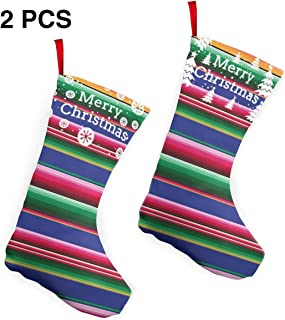 KKK81 Novel Colorful Mexican Blanket Stripes Christmas Stockings Christmas Tree Decorations Bags Christmas Stockings 2 Pcs Set 12