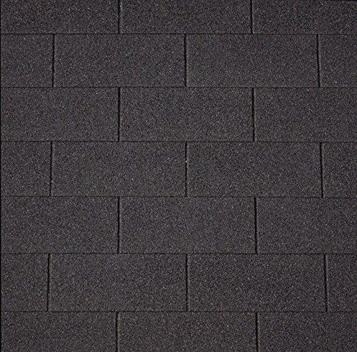 Bitumenschindeln Rechteckschindeln schwarz, 3 m², Bitumendachschindeln, Dacheindeckung Gartenhaus Dachschindeln Dachschindeln