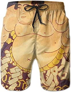 Quick Dry Men's Beach Shorts Japanese Sumo Wrestlers Mesh Lining Surfing Board Shorts Swim Trunks with Pockets