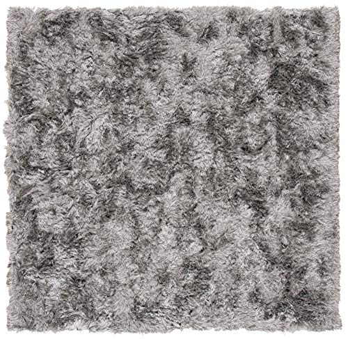 Safavieh Paris Shag Collection SG511-7575 Handmade Silken Glam Area Rug, 7' Square, Silver