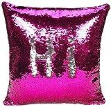 Funda de almohada con lentejuelas reversibles de dos colores fundas de cojín funda de almohada mágica que cambia de color para el sofá del en casa decorativa 40x40cm-Lentejuelas plateadas rosa fuerte