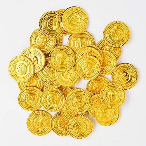 XJIUER Halloween Dekoration 50 stücke Goldmünzen Piraten Schatz Spiel Halloween Spielgeld Piraten Party Requisiten Kinder Party Weihnachten Dekoration Lieferungen
