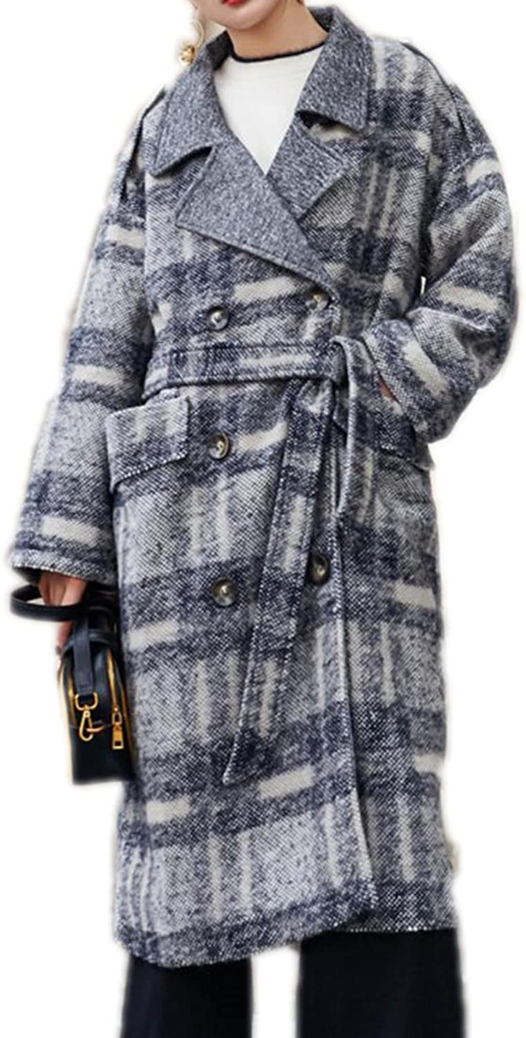 XQS Womens Slim Fit Tailored Collar Slim Double Breasted Plaid Trench Coats