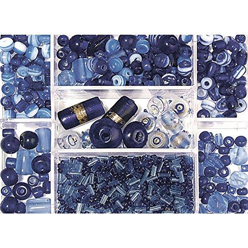 Rayher 14003830 boîte de perles de verre de couleurs et tailles Mix SB Boîte de 115 g Saphir