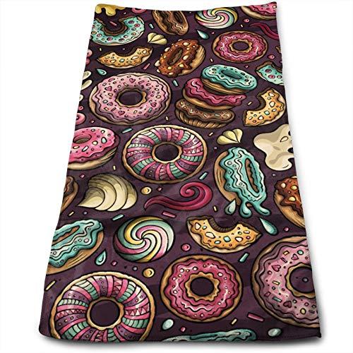 Toalla de Mano Donuts Dibujados a Mano de Dibujos Animados, Toalla de Viaje, Toalla de baño, Toallitas Muy absorbentes Toallas Multiusos 70x30 cm