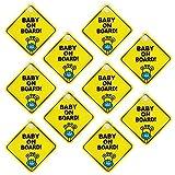 """Adesivi Bambini a Bordo, NALCY 10PCS Cartello per Bambini con Scritta """"Baby on Board"""", Rimovibile per Avvertire la Sicurezza dei Bambini, Adesivi Baby per Macchina, Sfondo Giallo"""