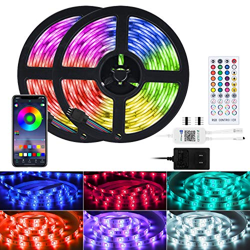 Led Strip Lights Music Sync 32.8 Feet Bluetooth Waterproof Color Changing Rgb Light Strip with IR Remote, App Control 300 Led Tape Lights for Bedroom Bar Party (APP+Remote+Mic)