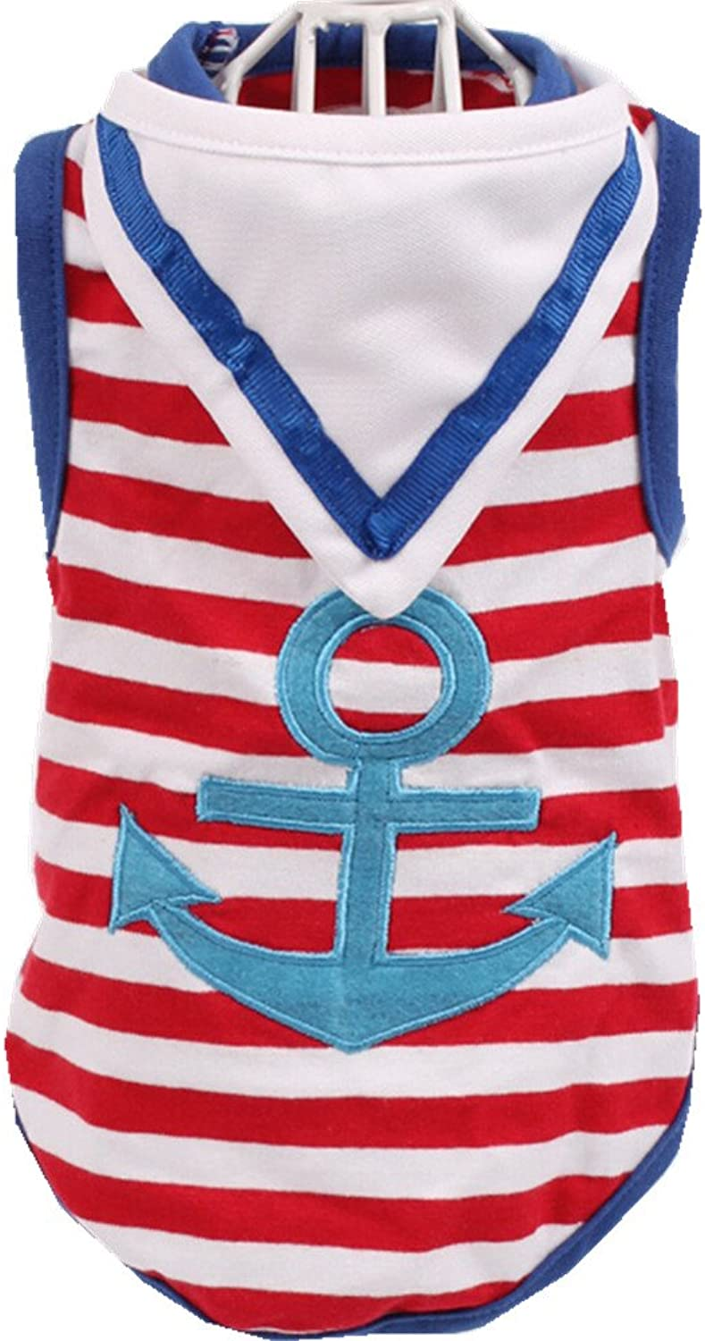 AILNT Summmer Apparel Puppy Dog Pet Clothes, Navy Striped Sailor Pet Vest with Scarf (S, bluee)