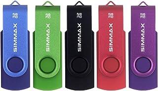 SIMMAX Clé USB 32 Go Lot de 5 USB 2.0 Flash Drive Pivotant Stockage Disque Mémoire Stick Pendrive (32Go Bleu Vert Noir Rou...