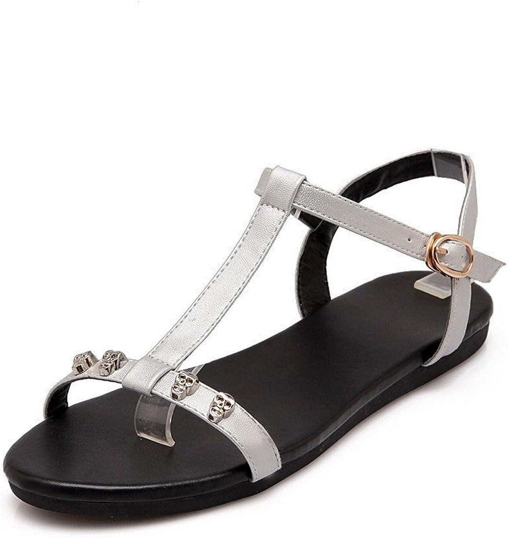 WeenFashion Women's Low-Heels PU Solid Buckle Open-Toe Sandals