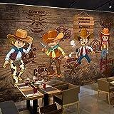 WLPBH Peinture 3D Murale Autocollante Western Cowboy Film De Héros De Bande Dessinée Américaine Rétro (W) 300X (H) 210Cm3D Photo Murale Enfants Décoration De Chambre D'Enfants Mur De Fond Papier