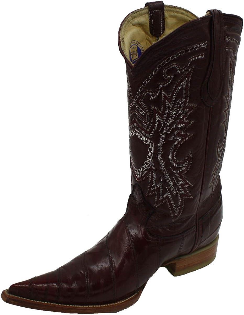 Details about  /LOS ALTOS MEN BROWN 3X-TOE GENUINE EEL SKIN WESTERN COWBOY BOOT 95V0857 EE+