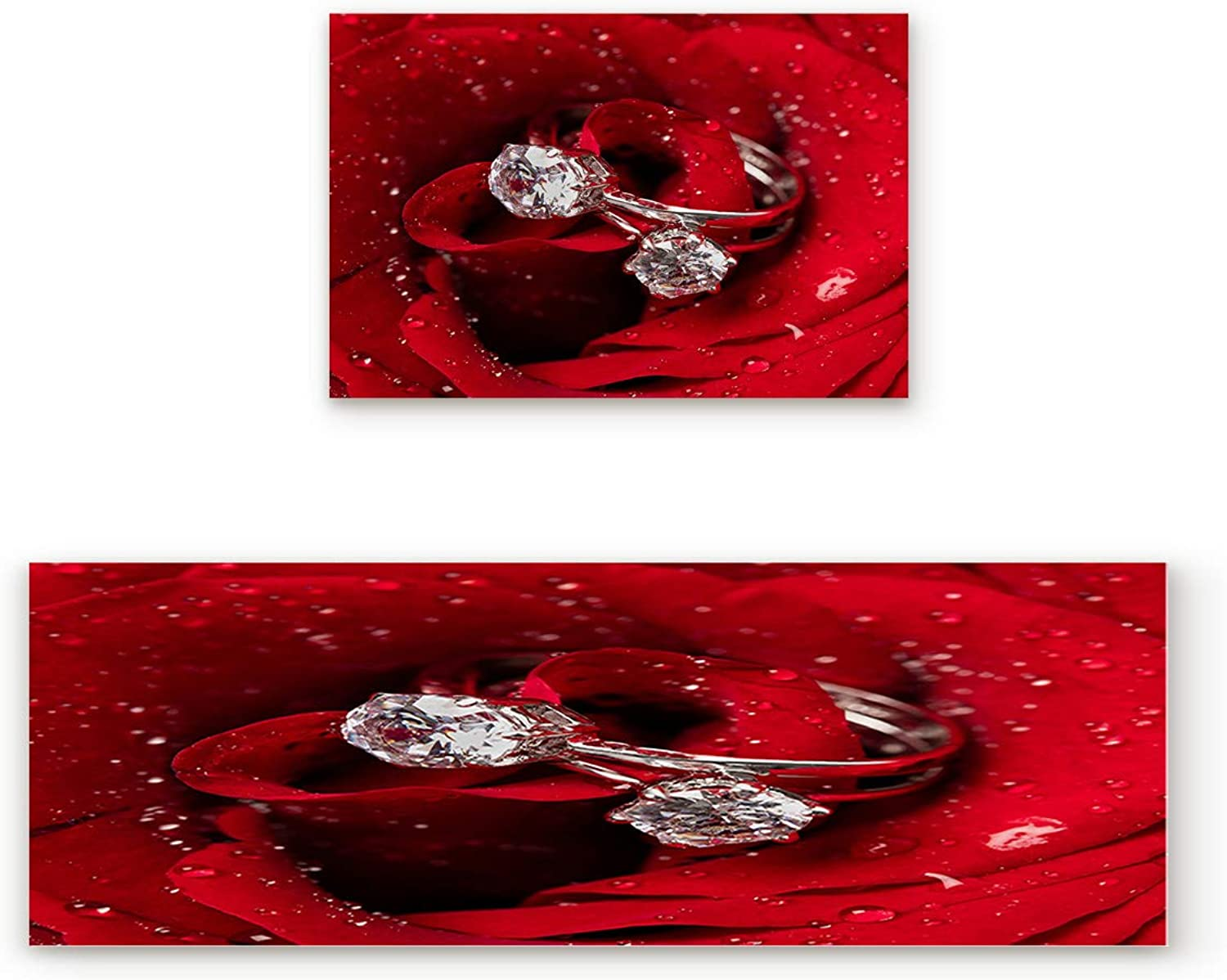 Aomike 2 Piece Non-Slip Kitchen Mat Rubber Backing Doormat Valentine's Day pink Flower and Diamond Ring Runner Rug Set, Hallway Living Room Balcony Bathroom Carpet Sets (19.7  x 31.5 +19.7  x 63 )