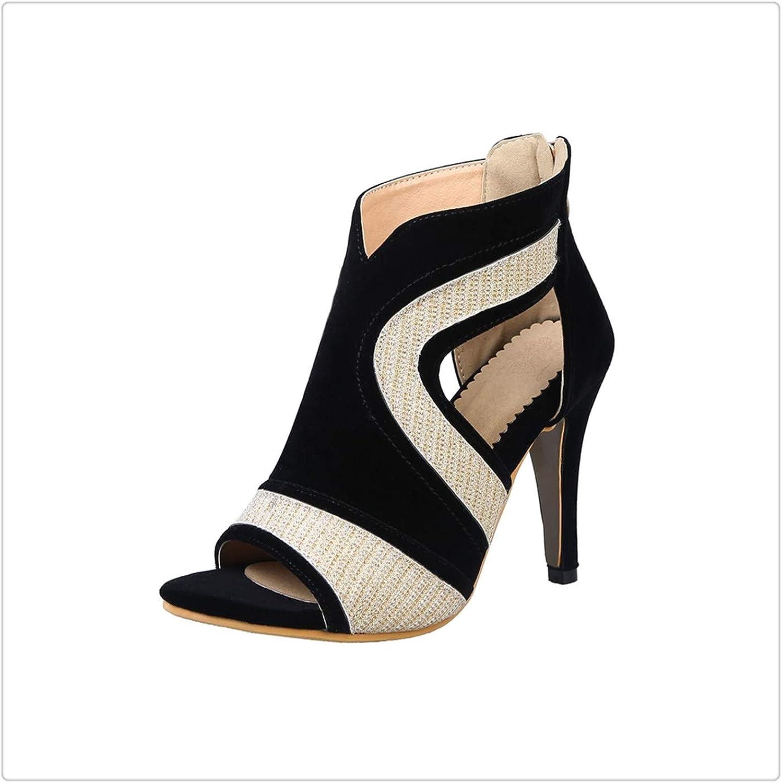 KKEPO& 2019 springsummer Fashion Women's Sandals Shiny Decoration Zipper Open Toe 10CM high Heel shoes Sandals Women Size 33-44 gold 37