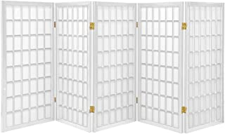 Oriental Furniture 3 ft. Tall Window Pane Shoji Screen - White - 5 Panels