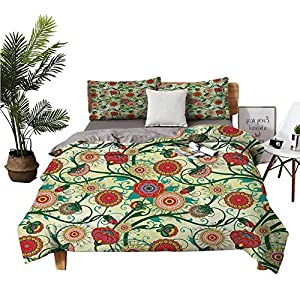 DRAGON VINES 4pcs Bedding Set KingSizeBed Pillowsham Vintage Colorful Ornamental Flowers and Leaves Fresh Spring Nature Art Illustration Multicolor Breathable Fabric