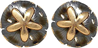 """Beach Lake House Decor Sand Dollar Wall Plaque Metal Gold Silver Set of 2 (11.5"""")"""