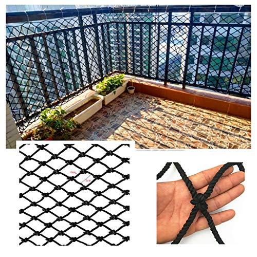 Red de Seguridad Barandilla Protección de Balcón Red De Seguridad Cuerda De Nylon Negro Balcón Balcón Red De Seguridad Decoración Cuerda De Red Barrera De Red Escaleras Anti-caída Jardín De Infantes P