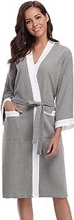 Unisex Kimono Robes Waffle Cotton Bathrobe for Women and Men Spa Robe Lightweight Sleepwear