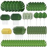 HUAESIN 70 Stück Künstliche Palmenblätter 10 Arten Künstliche Tropische Blätter Plastik Palme Blätter für Draußen Drinnen Hawaii-Party Dschungel Strand Tropische Party Theme Dekoration